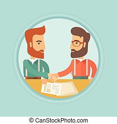 Business people shaking hands vector illustration.