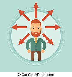 Man choosing career way or business solution. - A hipster...