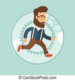 Businessman running on gear background.