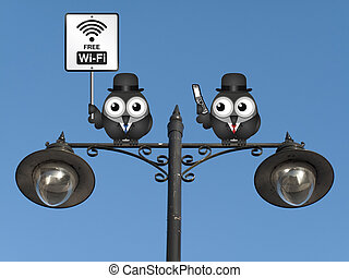 Free WIFI sign - Comical free WIFI sign with businessman...