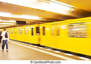 underground train - Yellow underground train in motion