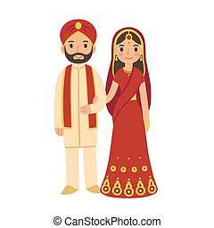 Indian wedding couple in traditional clothing. Cute cartoon...