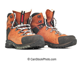 mountaineering boots - isolated leather mountaineering boots