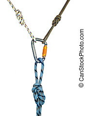 carabiner and three ropes - Isolated new climbing equipment...