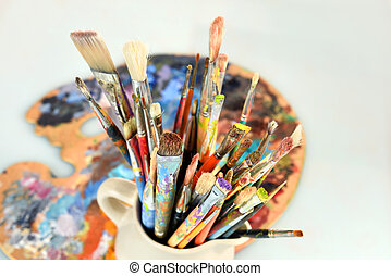 Artist Paintbrushes and Palette