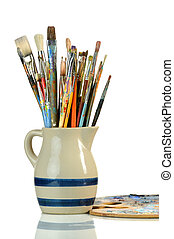 Artist Paintbrushes in a Jar and Palette