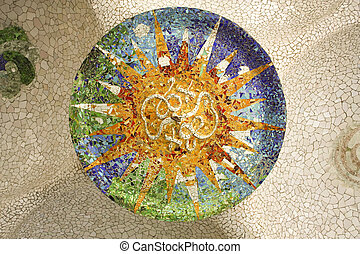 Gaudi mosaic, Rosette Sala Hipostila, Park Guell, Barcelona...