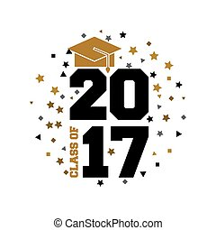 class of 2017 card vector illustration design