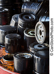 Automobile oil filters background