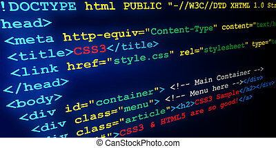 HTML and CSS tags - Sample abstract source code of web page...