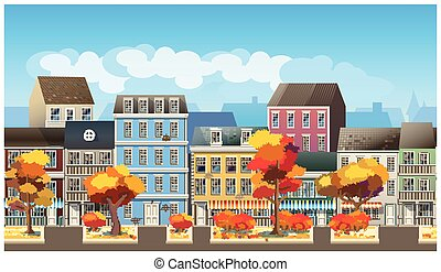 Old town in autumn - Stylized, seamless horizontal vector...