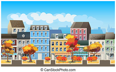 Old town in autumn - Stylized, seamless horizontal...