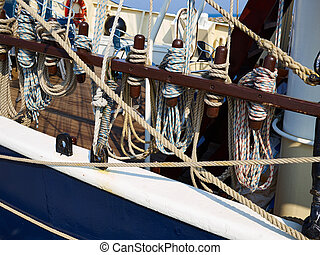 Old sailing boat sails and rigging - Old traditional wooden...