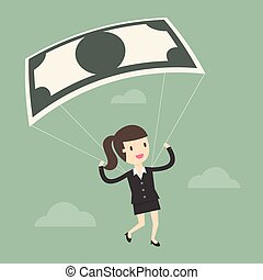Businesswoman Using Bank Note As a Parachute. Business...