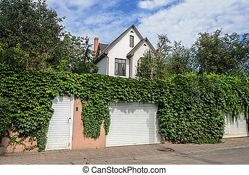 Small white two-storied residential house, fence with hops
