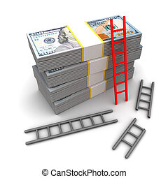 winner - 3d illustration of oner red ladder to success and...