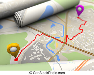 route - 3d illustration of map closeup with red route