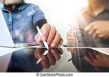 Team work concept,businessman hand attending video...