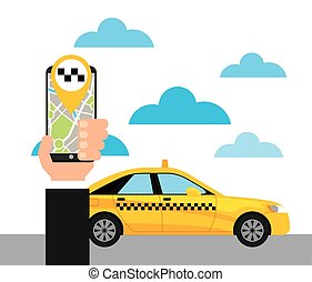 taxi service public transport app technology vector...