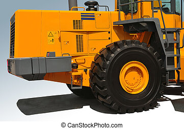 Orange bulldozer - Background. Orange bulldozer