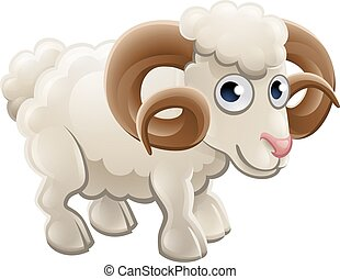 Cartoon Cute Ram Farm Animal - A cartoon cute ram farm...