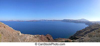 caldera of Santorini - panoramic view on caldera of...