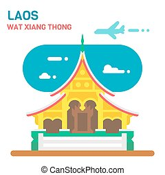 Flat design Wat Xiang Thong illustration vector
