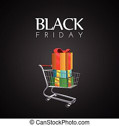 Black Friday - Black friday banner with a shopping cart,...