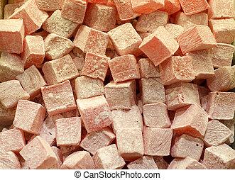rosa,  lokum, granatäpple, kuben