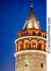 Night view at Galata tower in Taksim. Istanbul
