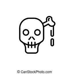 Skull and bone line icon for web, mobile infographics -...