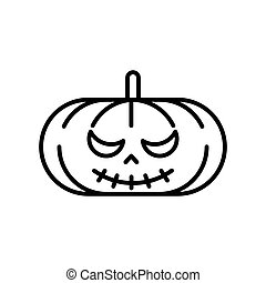Scary Jack O Lantern halloween pumpkin. Vector lined icon