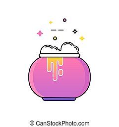 witches cauldron with potion. vector illustration