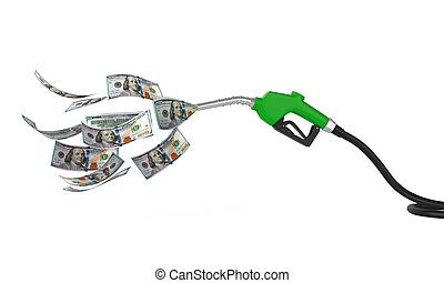 Gas Pump Nozzle and Dollar isolated on white background. 3D...