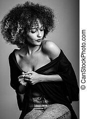 nero, acconciatura, donna,  afro, giovane