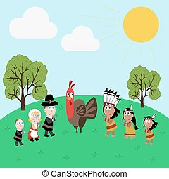 Pilgrims and indians illustration