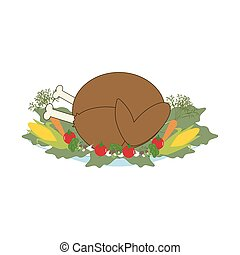 Thankgiving day turkey on the white background. Vector...