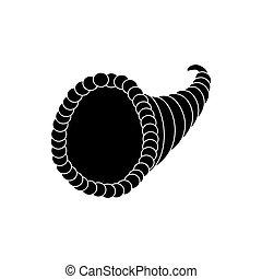 Horn of plenty on the white background. Vector illustration