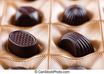 chocolate candies in a box