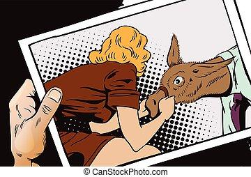 People in retro style. Woman pulls a stubborn man donkey. -...