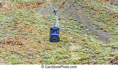 lift Cab picks up tourists at the volcano Teide on Tenerife....