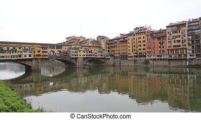 Florence Italy river bridges and Houses