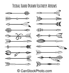 American indian arrow icons. Tribal hand drawn feathery...