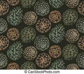 Seamless pattern with hand drawn pine cones. - Seamless...