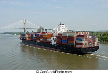 Cargo Container Ship - Container ship at Savannah river port...