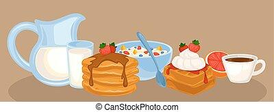 Vector breakfast food set. Icons of healthy food: orange...