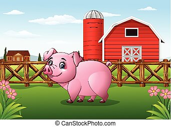 Cartoon pig in the farm background