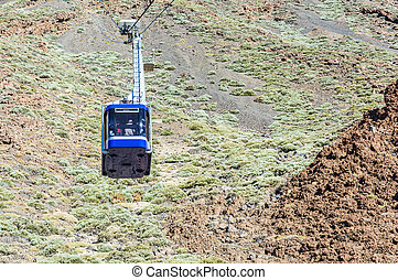 Blue cabin cable car with tourists climbing ropes stretched...