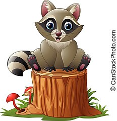 Cute raccoon on the tree log - Vector illustration of Cute...