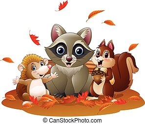 Cartoon funny raccoon, hedgehog